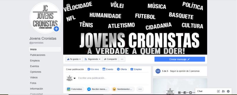 Página do projeto JC no Facebook