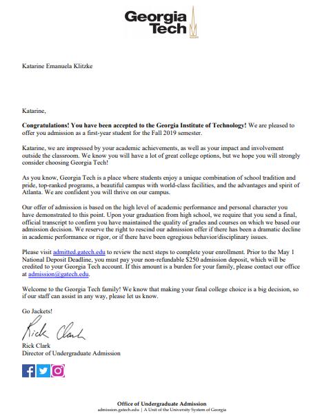 carta de admissão - admission letter