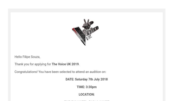 Audição para The Voice UK