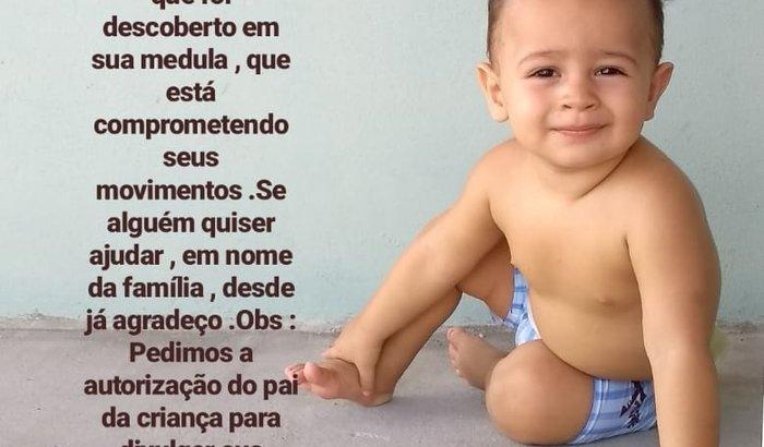 Ajudar criança do Piauí com tumor na medula
