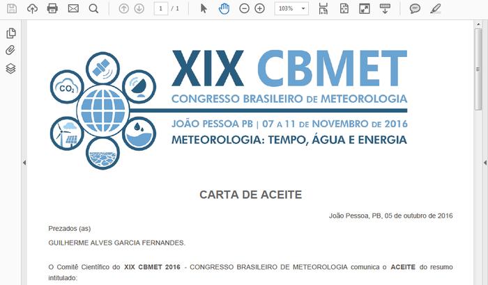 Participação de em evento Cientifico  XIX CBMET