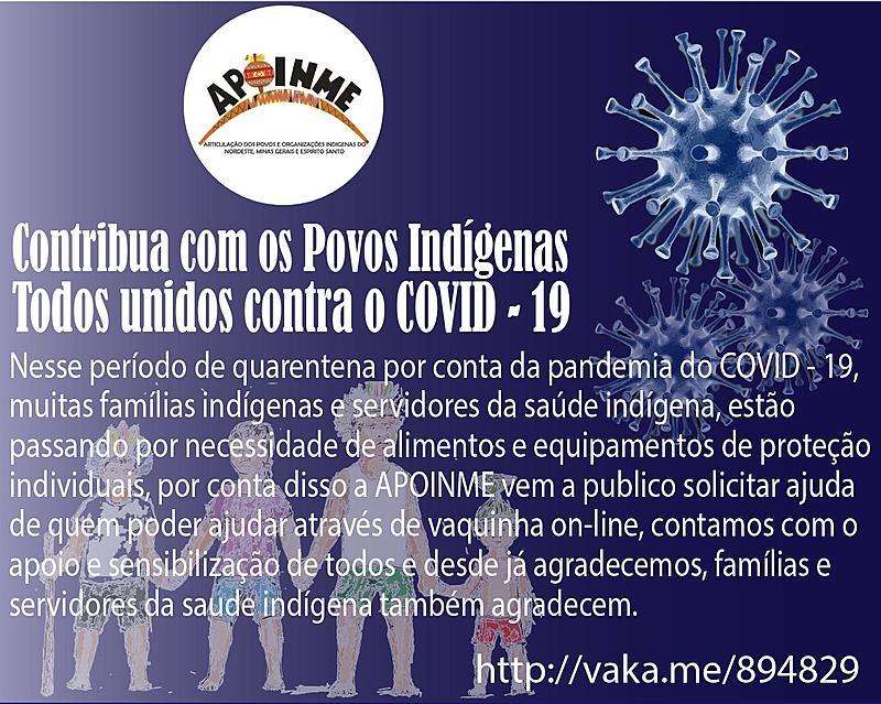 APOIO AOS POVOS INDÍGENAS DA APOINME CONTRA O COVID 19