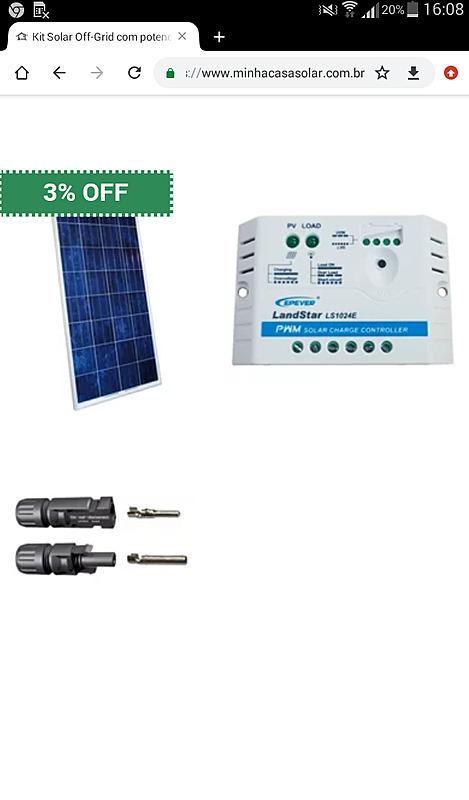 Ajuda compra este pequeno kit solar - 1 painel 150watts e 1 controlador  -  link esta descrição  da  minha casa solar